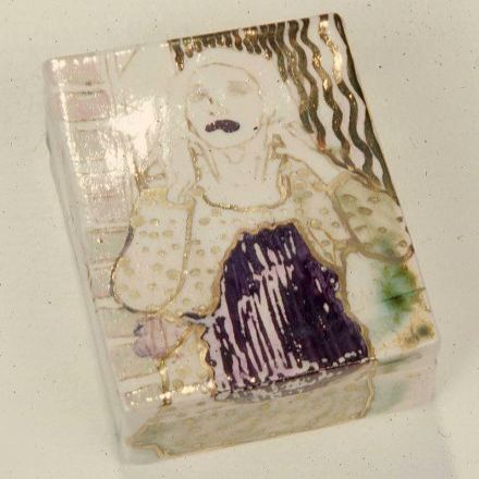 """Paul Wong in drag box "" - 1976 - porcelain, clear glazes with pearl/gold lustre 6""x4""x4"""