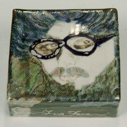 """ FurFace-Sid "" - 1976 - pearl lustre over stoneware glaze  - 4 "" x4 "" x4 """