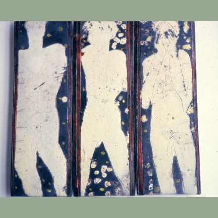 """Tile Composition"" - raku fired - now in the collection of Don Larventz Van. B.C."