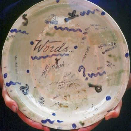 """Words"" large plate - 14"" across"