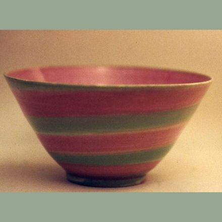 """Porcelain Bowl"" 6"" pink and green striped"