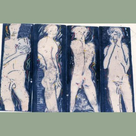 """4 piece tile composition"" - raku fired - 1984"